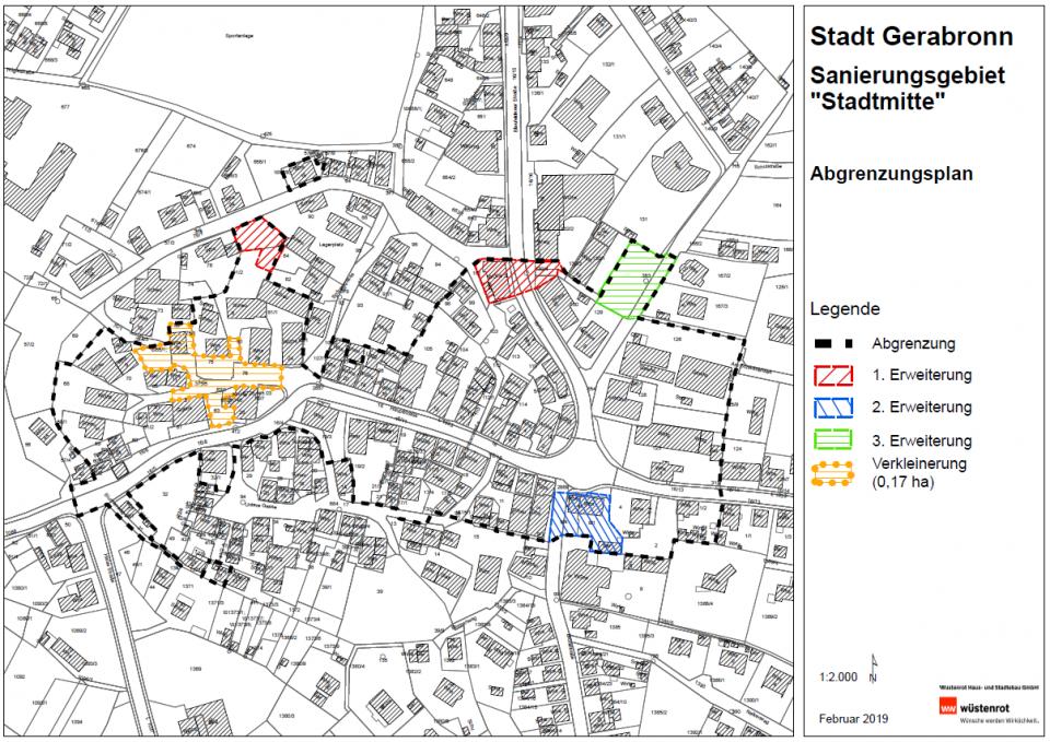 Erweiterungen und Verkleinerung Gerabronn Stadtmitte