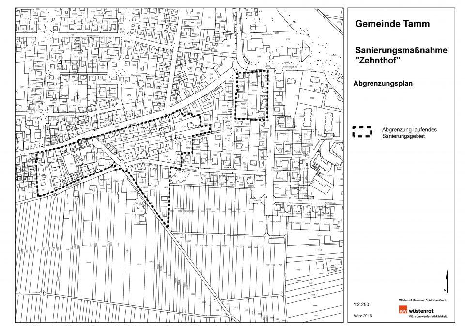 """Abgrenzungsplan Sanierungsgebiet """"Zehnthof"""""""