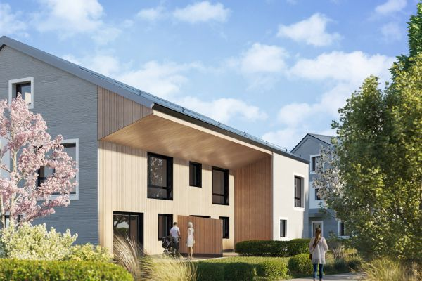 Visualisierung eines Wohngebäudes des Quartiers (außen)